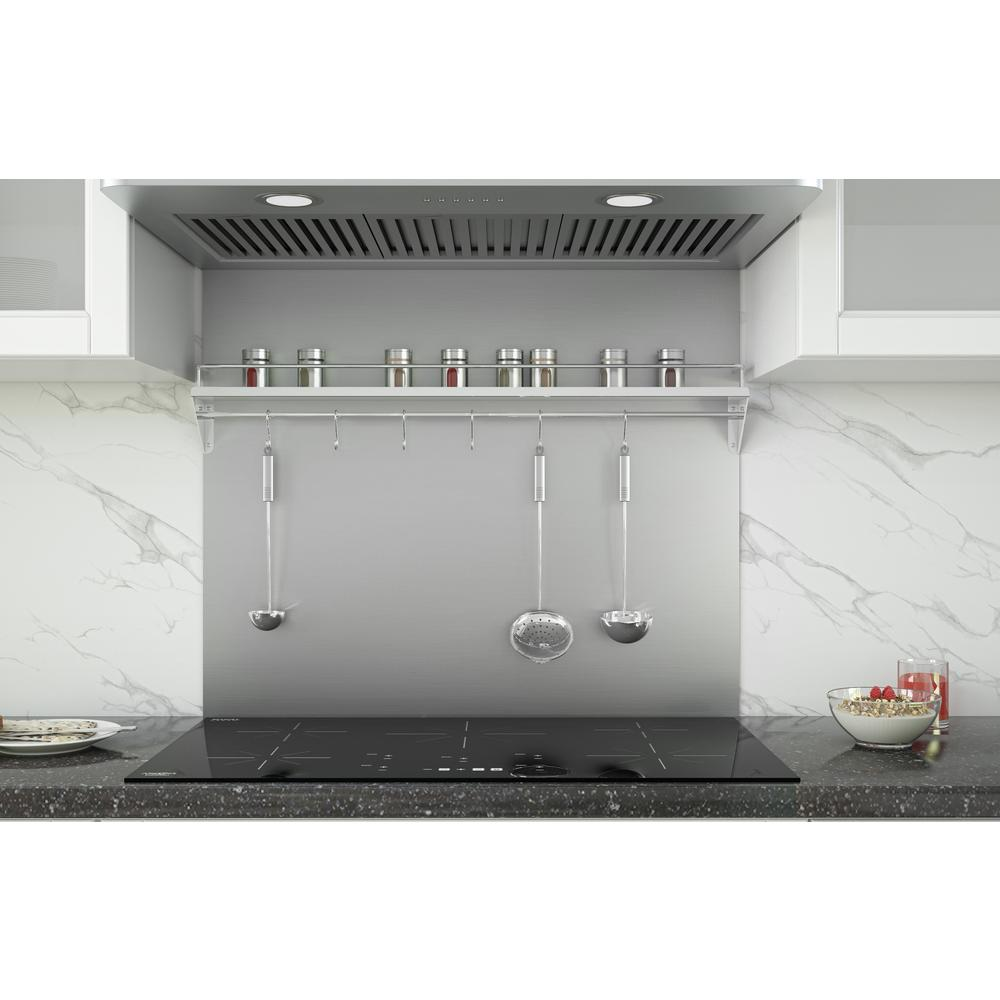 - Ancona 36 In. X 30 In. Stainless Steel Backsplash With Shelf And