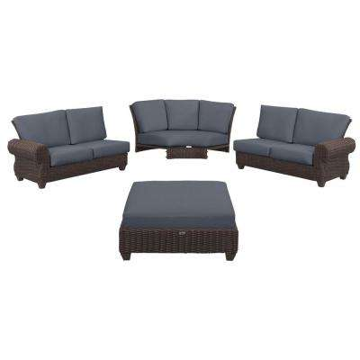 Mill Valley 4-Piece Brown Wicker Outdoor Patio Sectional Sofa Set with CushionGuard Steel Blue Cushions