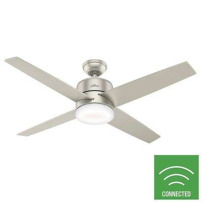 Advocate 54 in. Integrated LED Indoor Matte Nickel Ceiling Fan with Light Kit and Remote