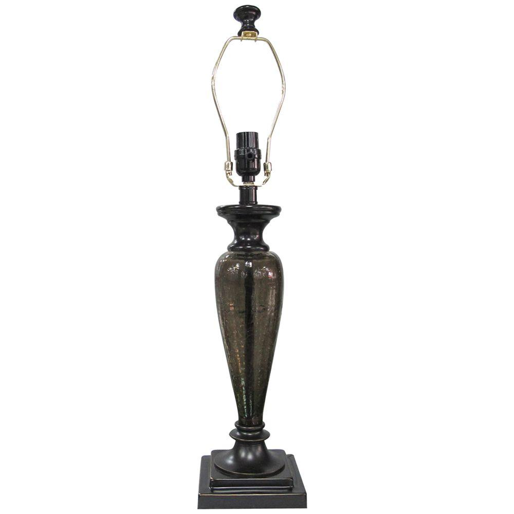 Mix & Match 27.25 in. Bronze Tinted Glass Pillar Table Lamp-Title