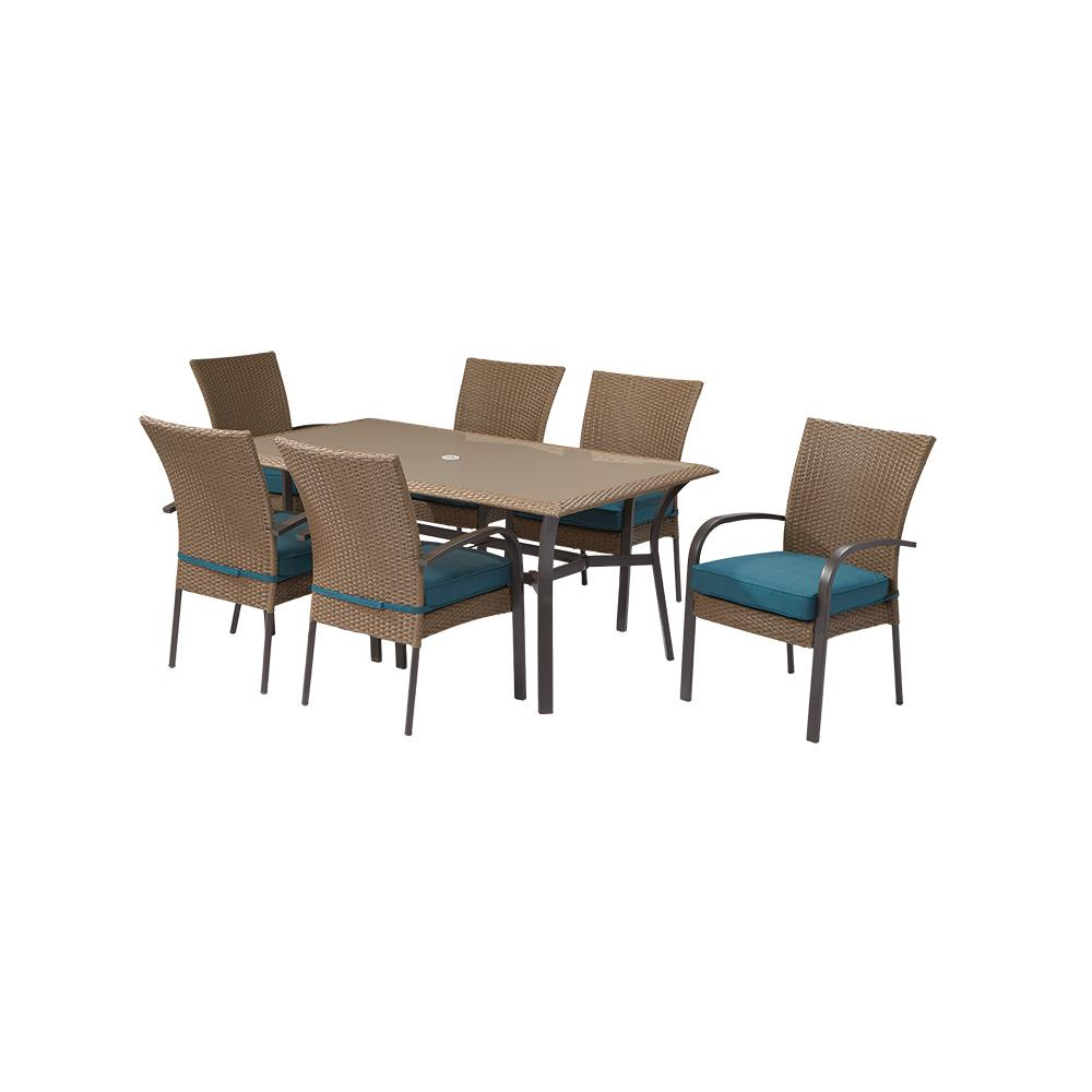 Etonnant Hampton Bay Corranade 7 Piece Wicker Outdoor Dining Set With Charleston  Cushions
