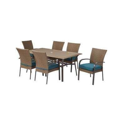 Charming Corranade 7 Piece Wicker Outdoor Dining Set With Charleston Cushions