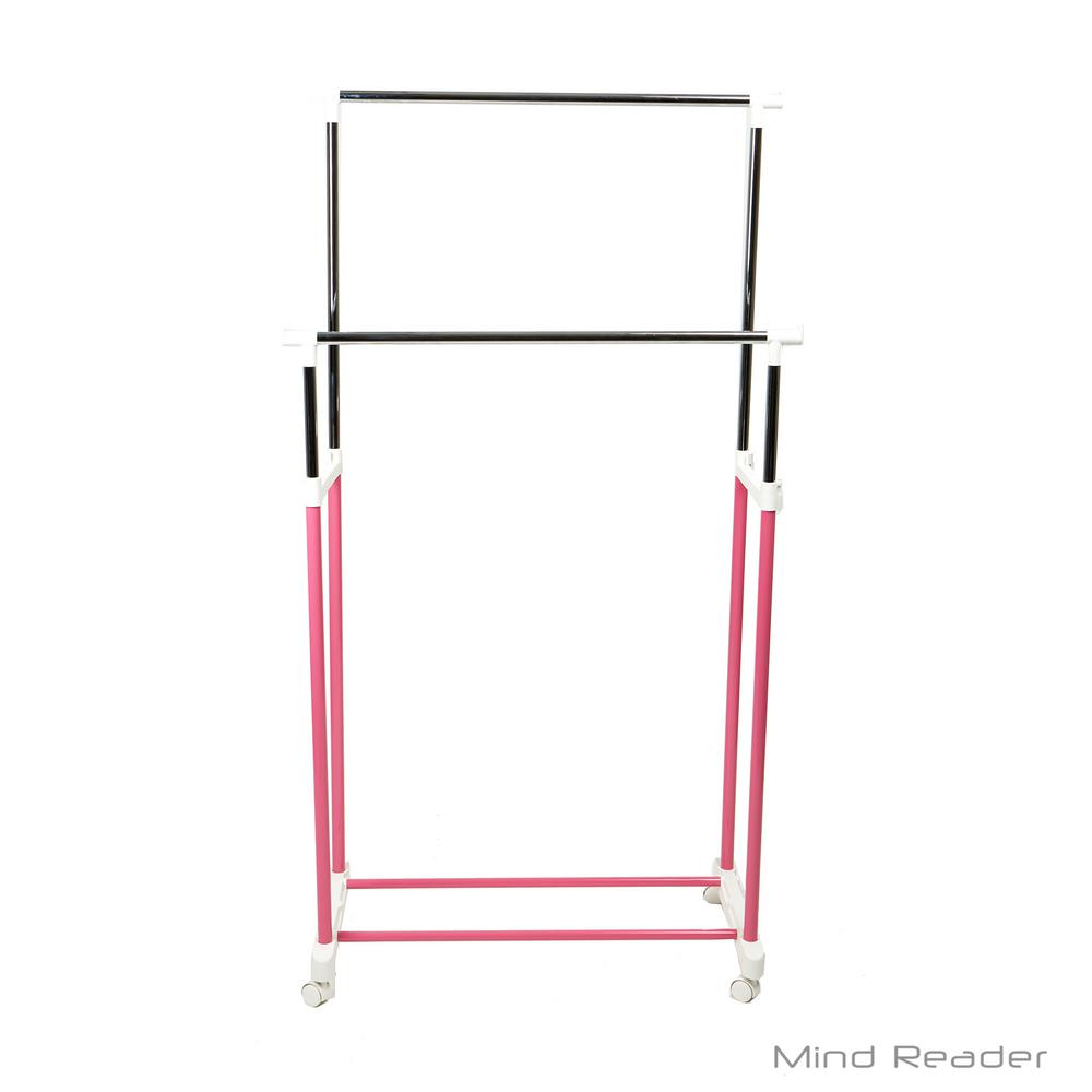 Mind Reader 33.07 in. W x 65.7 in. H Pink Metal Double Bar Garment Rack Keep your clothes wrinkle-free while taking up very little space while having multiple racks for your clothes. Have a spot to hang up extra clothes, jackets, towels and more. The wheels even make it easier for you to maneuver the rack where you need it. Color: Pink.