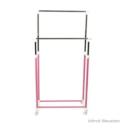 33.07 in. W x 65.7 in. H Pink Metal Double Bar Garment Rack