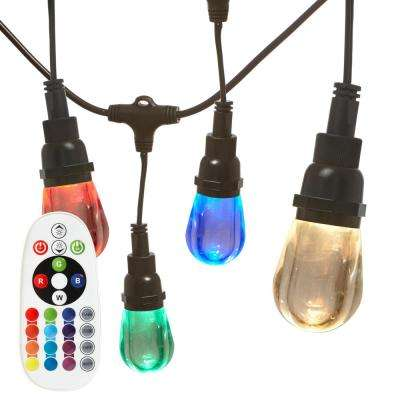 18-Socket 36 ft. 5-Watt LED Remote Controlled Color Changing Cafe String Lights