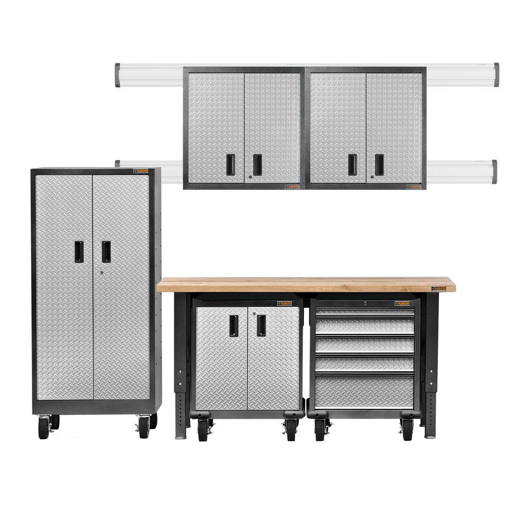 Gladiator Premier Series Pre-Assembled 66 in. H x 102 in. W x 25 in. D Steel Garage Cabinet Set in Silver Tread (6-Pieces)