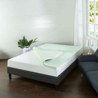 1.5 in. Green Tea Twin Memory Foam Mattress Topper