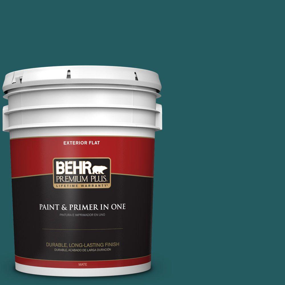 BEHR Premium Plus 5-gal. #S450-7 Tsunami Flat Exterior Paint