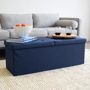 Admirable Humble Crew Blue 43 In Folding Storage Ottoman Bench With Ibusinesslaw Wood Chair Design Ideas Ibusinesslaworg