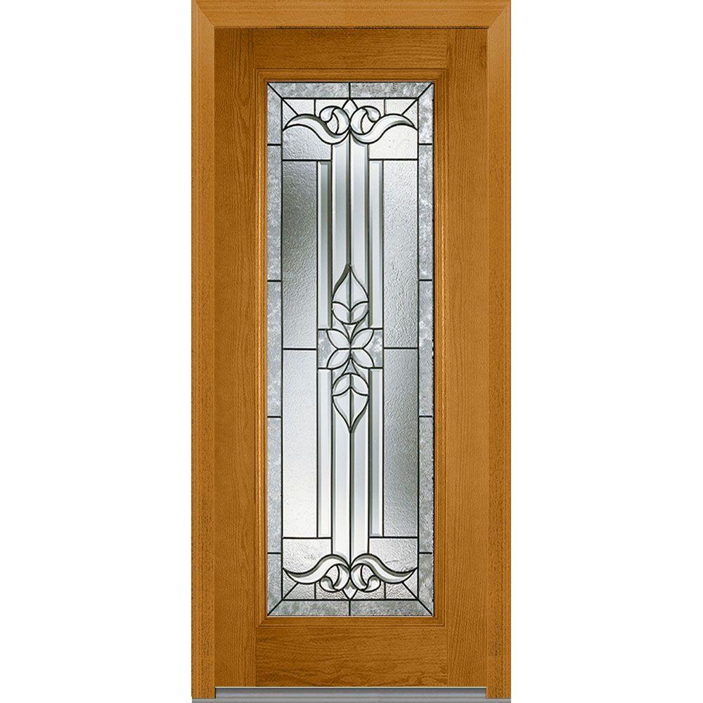 Mmi door 37 5 in x in cadence decorative glass for Full glass exterior door