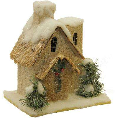 9.25 in. Snow Covered House with Shrubs Christmas Tabletop Decoration