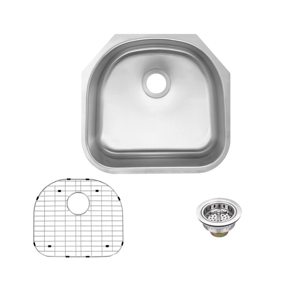 Glacier Bay Undermount 16-Gauge Stainless Steel 23 in. D-Shape Single Bowl  Kitchen Sink with Grid and Drain Assembly