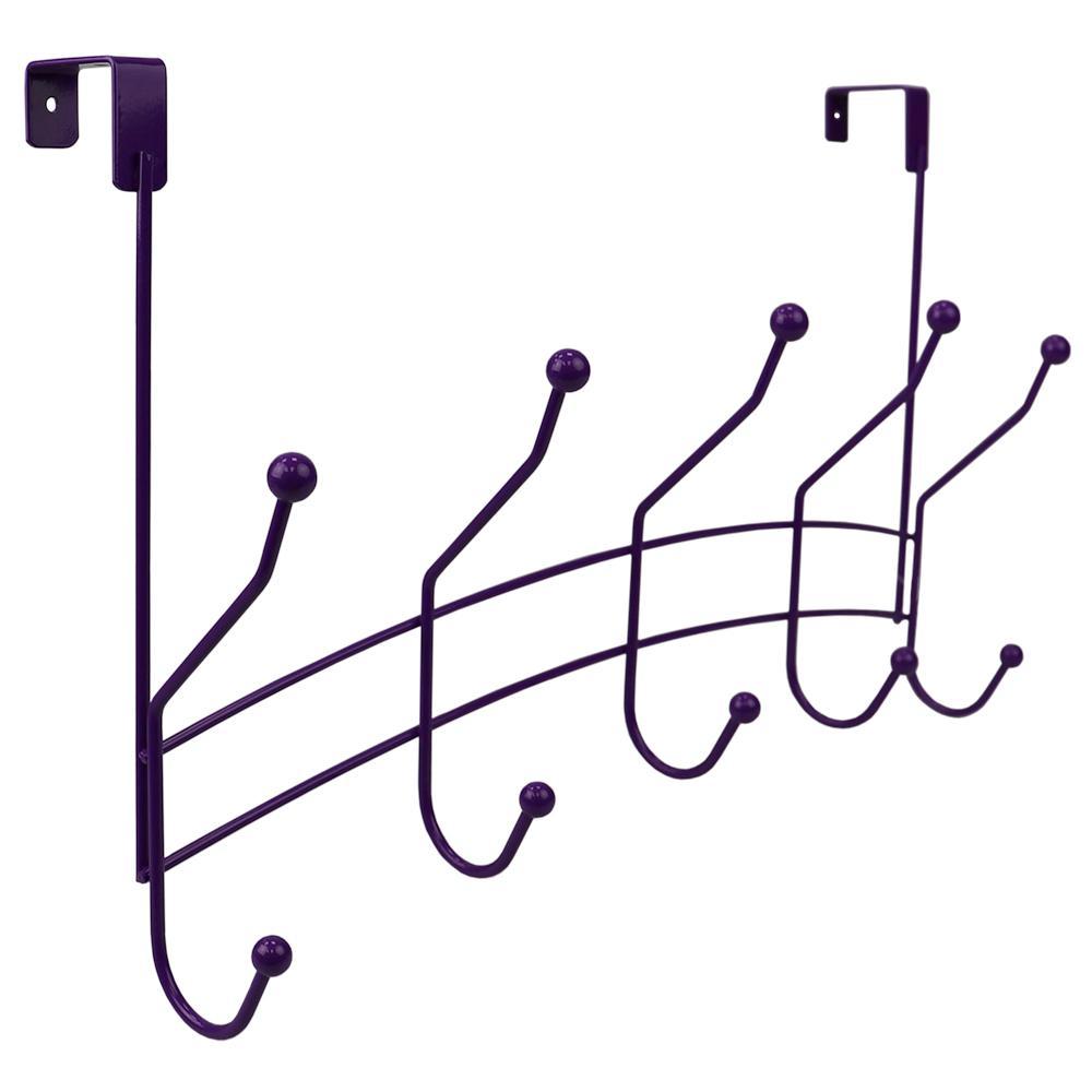 Shelby 18.75 in. Purple 5-Hooks 1 lb. Over The Door Hanging Rack
