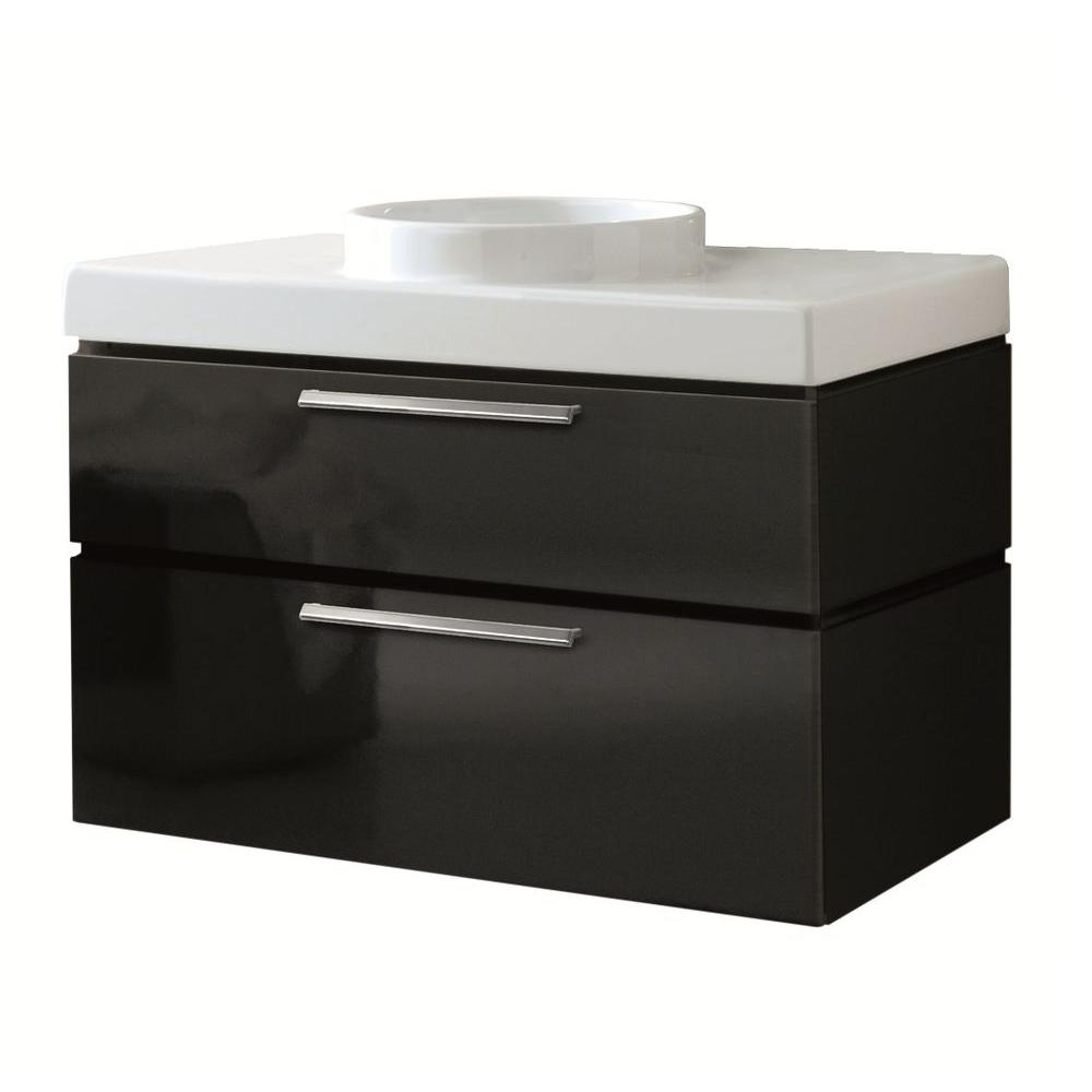 LaToscana Asia 33.5 in. W x 20 in. D x 34 in. H Vanity Cabinet Only in Black-DISCONTINUED