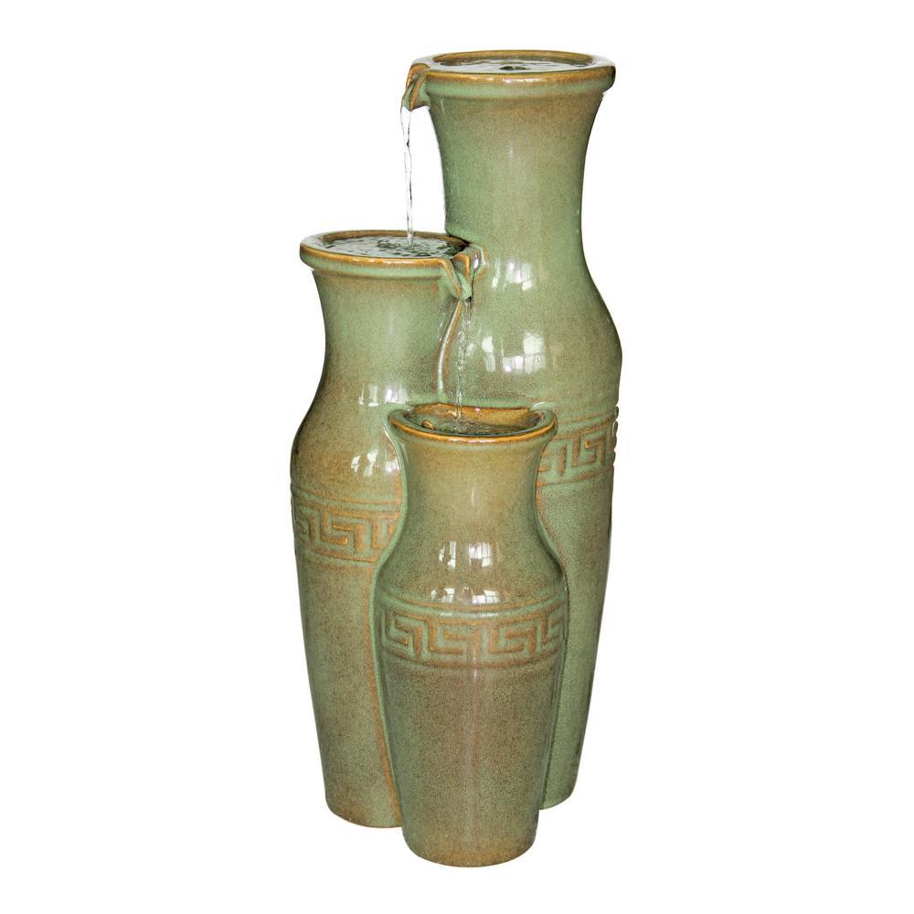 Ceramic Grecian Jars Stone Bonded Resin Garden Fountain