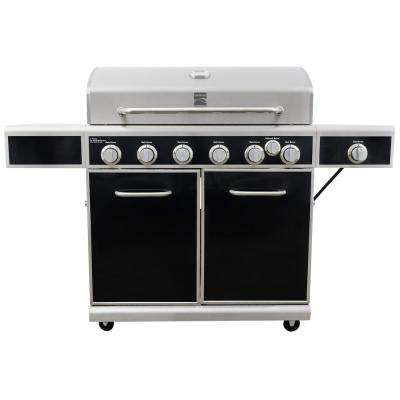 6-Burner with Side Burner Propane Gas Heavy-Duty Grill with Silk Screen Control Panel and Side Shelves
