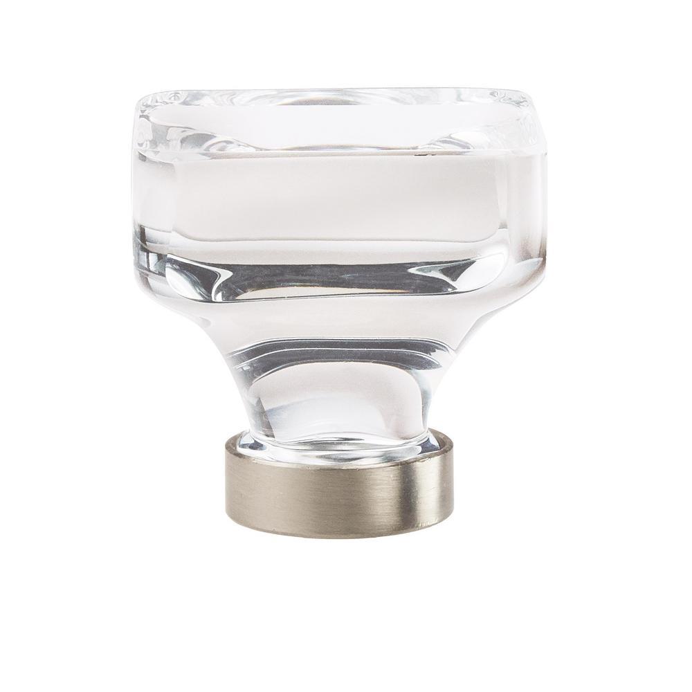 Glacio 1-3/8 in. (35 mm) Dia Clear Crystal/Satin Nickel Square Glass Cabinet Knob