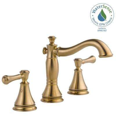 widespread 2handle bathroom faucet with metal drain assembly in champagne