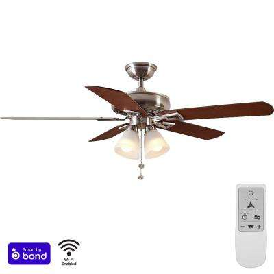 Lyndhurst 52 in. Brushed Nickel LED Smart Ceiling Fan with Light and Remote Works with Google Assistant and Alexa
