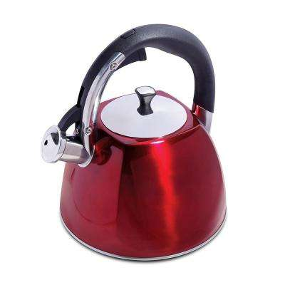 Belgrove 10-Cup Metallic Red Whistling Tea Kettle