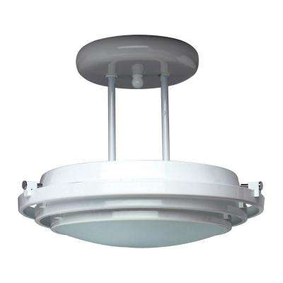 1-Light Polished Brass Ceiling Semi-Flush Mount Light with Acid Frost Glass
