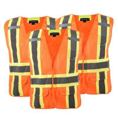 High-Visibility 5-Point Tear Away Reflective Safety Vest, SZ 2XL/3XL (3-Pack)