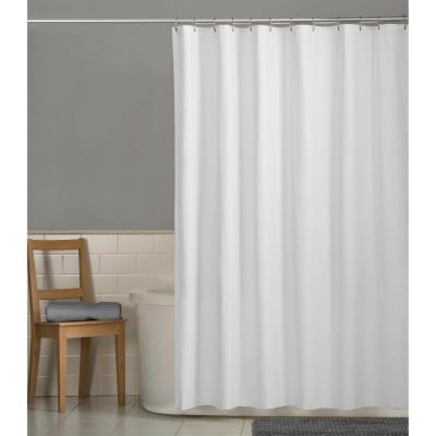 Maytex 70 in. x 72 in. Water Repellent Fabric Shower Curtain Liner in White