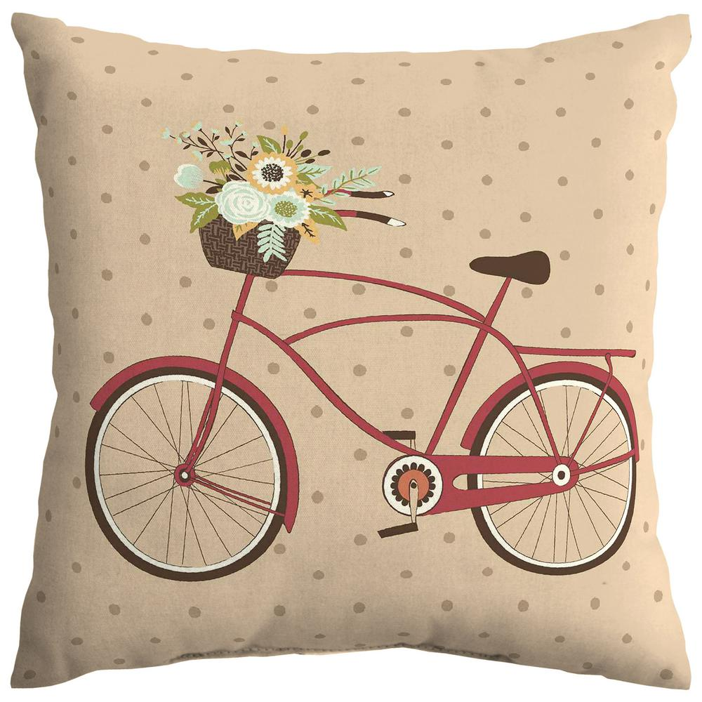 Hampton Bay Ruby Bike Square Outdoor Throw Pillow