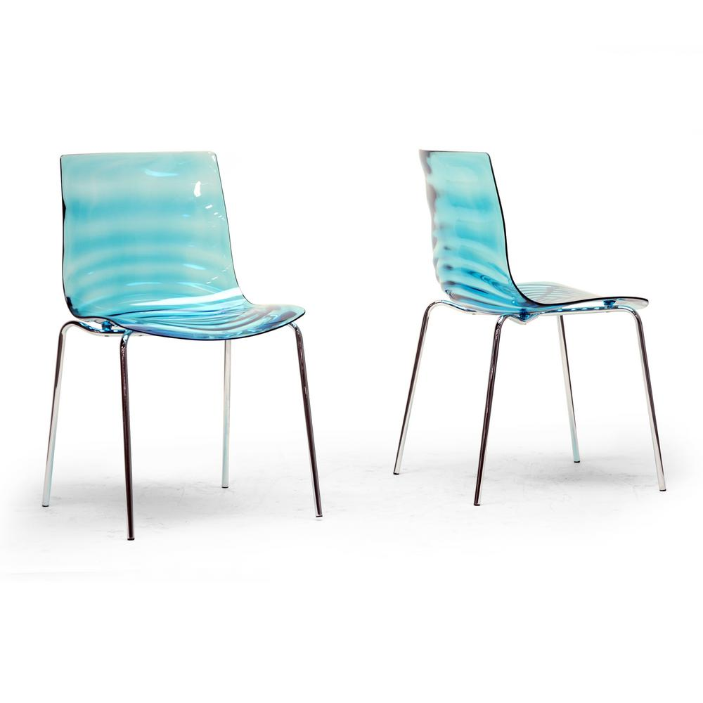 Baxton Studio Marisse Blue Finished Plastic Dining Chairs Set Of 2