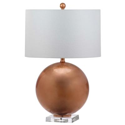 Jenoa 26 in. Copper Globe Table Lamp with White Shade