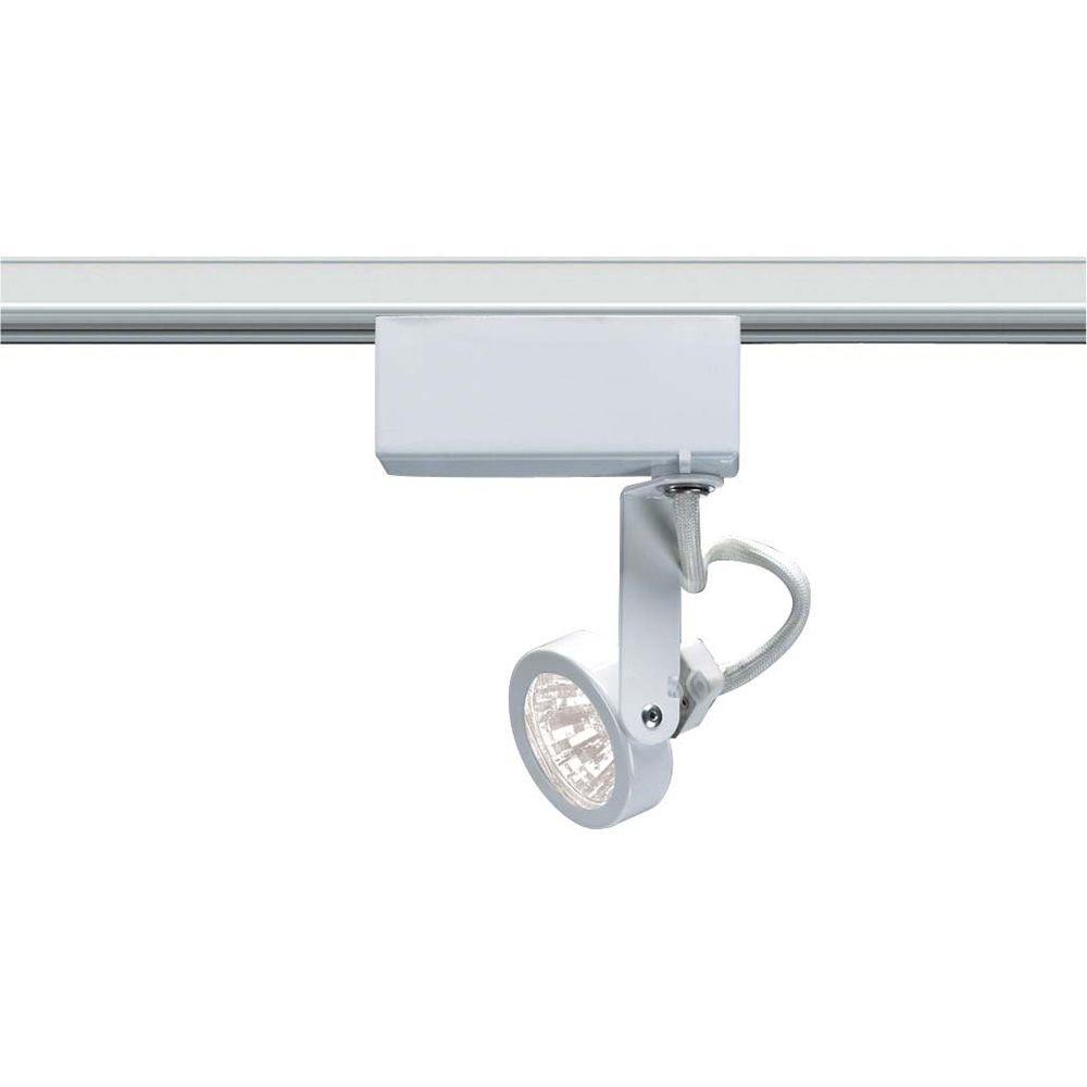 1-Light MR16 12-Volt White Gimbal Ring Track Lighting Head