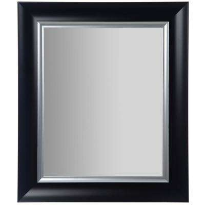 Scoop Framed Beveled Black And Silver Decorative Mirror