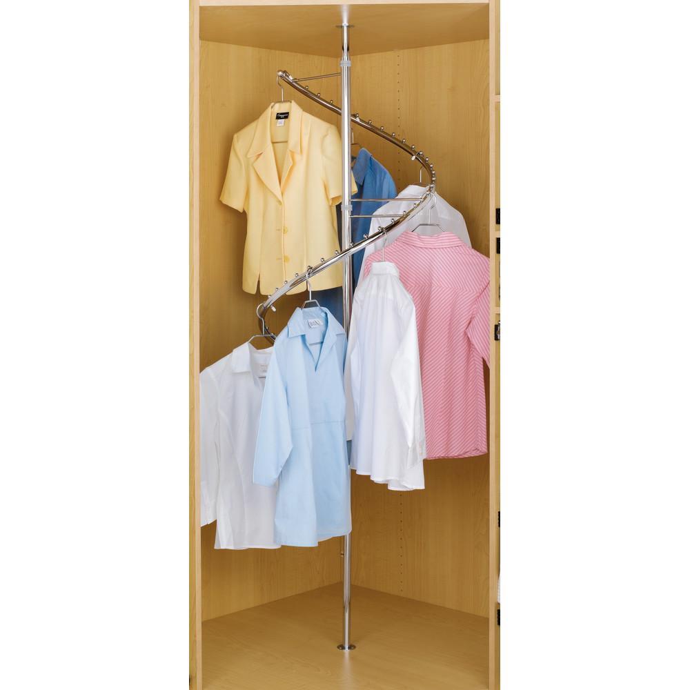 23 in. x 84 in. (adjustable height) Silver 360° Spiral Closet Garment Rack