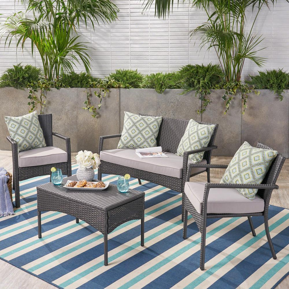 Noble House 4-Piece Wicker Patio Conversation Set with Silver Cushions