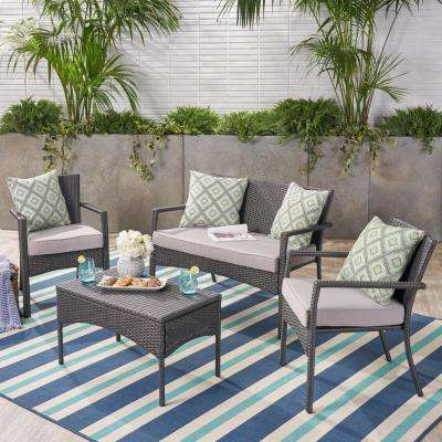 4-Piece Wicker Patio Conversation Set with Silver Cushions