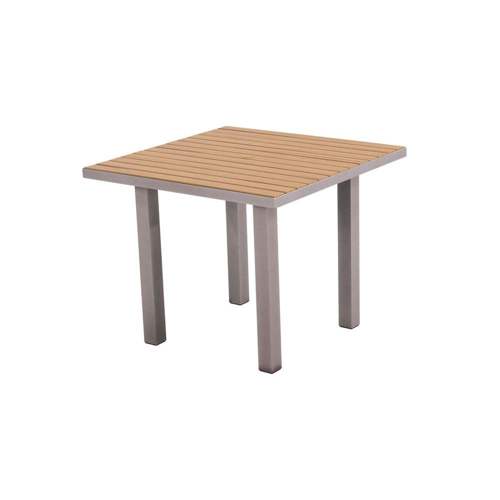 Euro 36 in. Textured Silver Square Patio Dining Table with Plastique