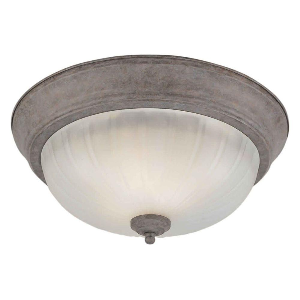 Talista 2-Light Desert Stone Flushmount with Fluted Satin Etched Glass