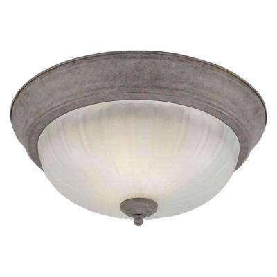 2-Light Desert Stone Flushmount with Fluted Satin Etched Glass