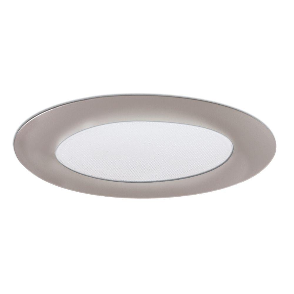 6 in. Satin Nickel Recessed Ceiling Light Shower Trim with Albalite