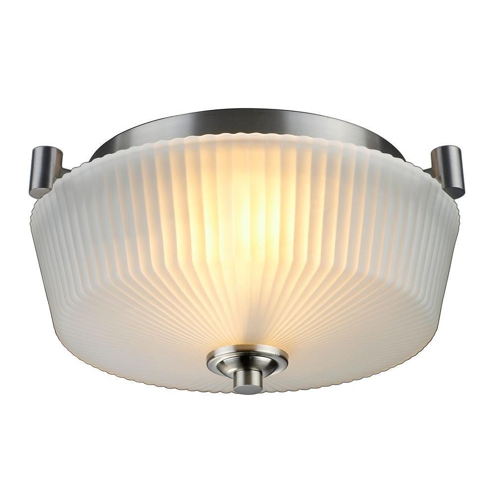Sheldon Collection 2-Light Brushed Nickel Flushmount