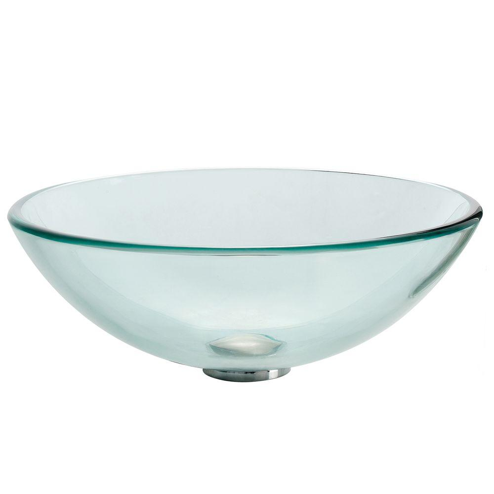 kraus bathroom sinks kraus glass vessel sink in clear gv 101 the home depot 13395