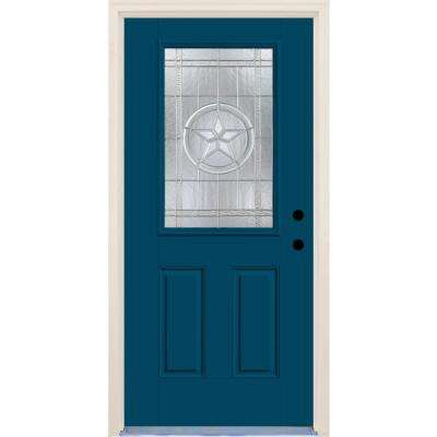 36 in.x80 in. Left-Hand 1/2 Lite Texas Star Decorative Glass Atlantis Painted Fiberglass Prehung FrontDoor w/ Brickmould
