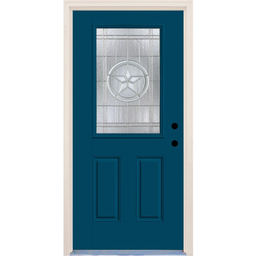 36 in.x80 in. Left-Hand 1/2 Lite Texas Star Decorative Glass Atlantis