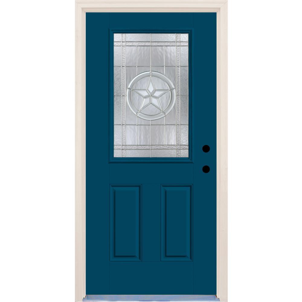 36 in.x80 in. Left-Hand 1/2 Lite Texas Star Decorative Glass Atlantis Painted Fiberglass Prehung FrontDoor w/ Brickmould