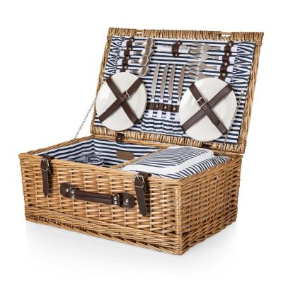 Belmont Navy and White Stripe Picnic Basket