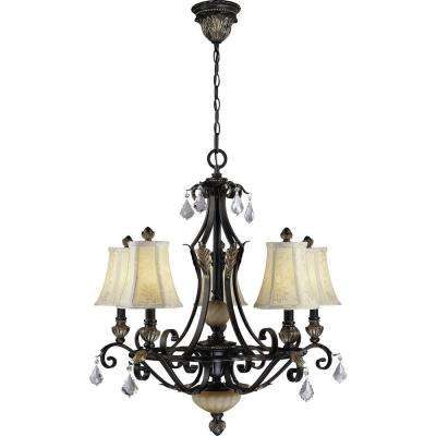 Andalusia 5-Light Vintage Bronze with Gold Highlights Interior Chandelier
