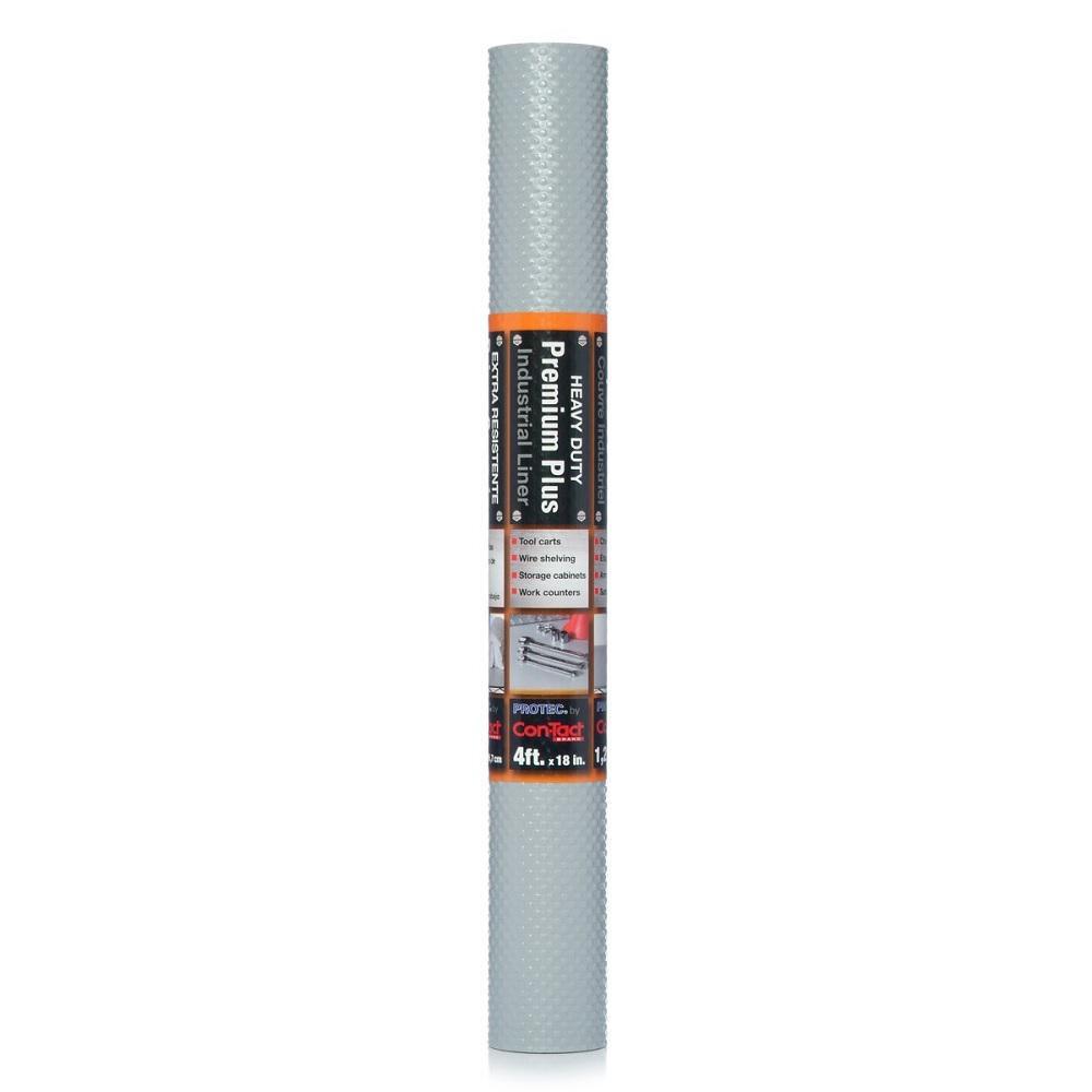 Industrial Premium Plus 18 in. x 4 ft. Nova Grey Heavy Duty Vinyl Non-Adhesive Drawer and Shelf Liner (6 rolls)