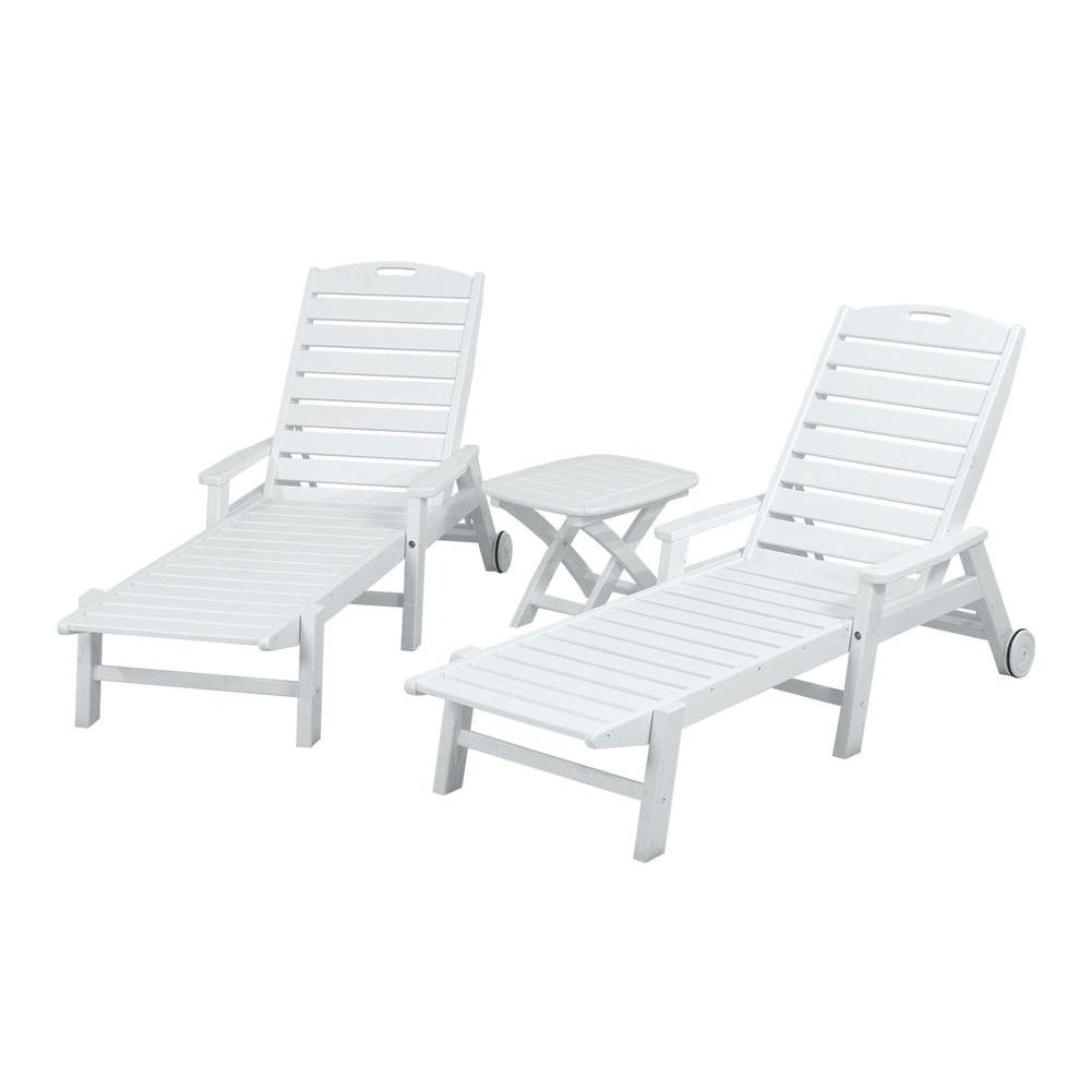 POLYWOOD Nautical White 3-Piece Patio Chaise Set