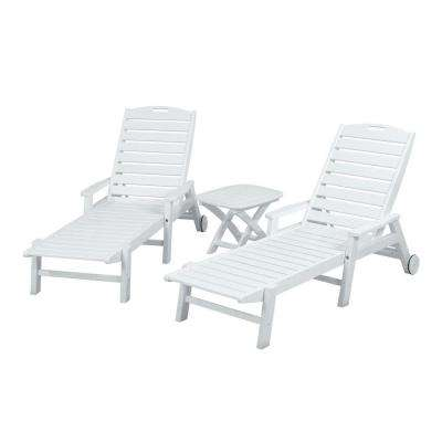 Nautical White 3-Piece Plastic Outdoor Patio Chaise Set