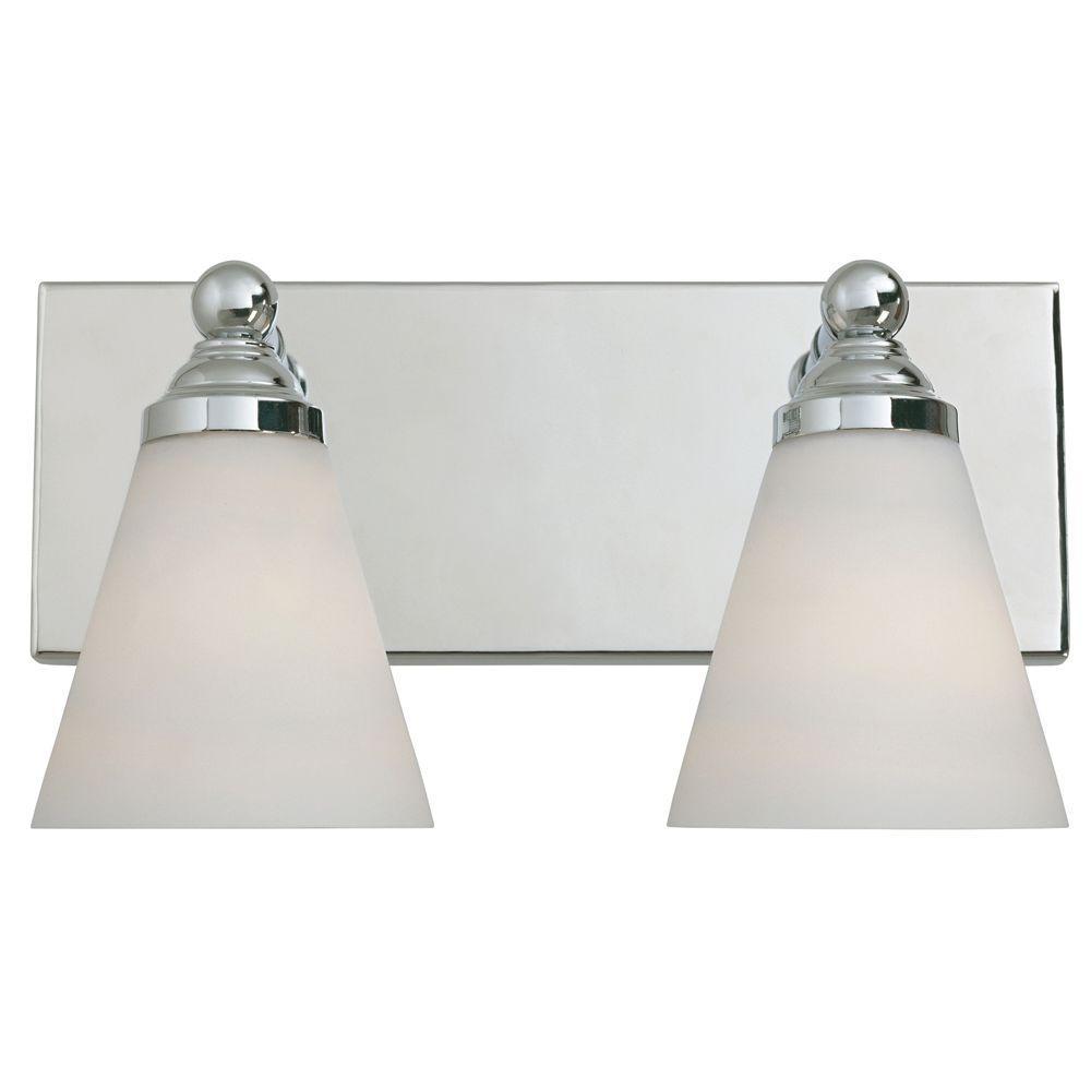 Hudson 2-Light Chrome Wall Mount Vanity Light